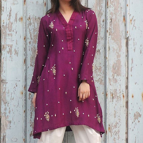 Purple Shirt with Handwork