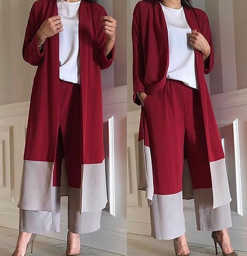 Maroon and Grey Gown Dress (3pc)