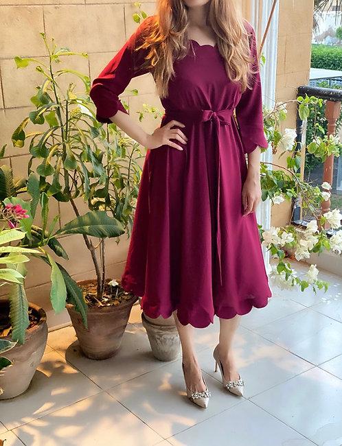 Burgundy Scallops Dress