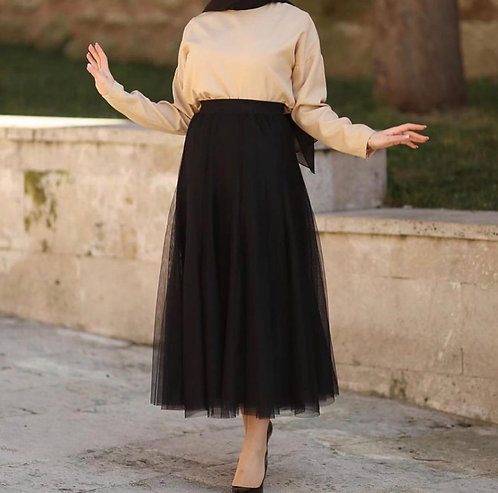 Beige Shirt with Black Net Skirt