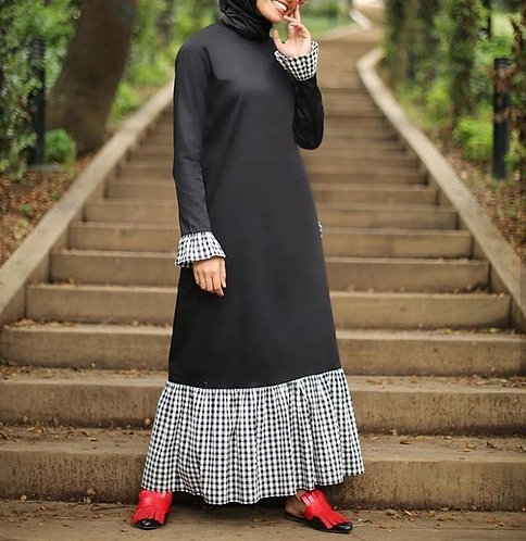 Black Abaya with Checks Frill