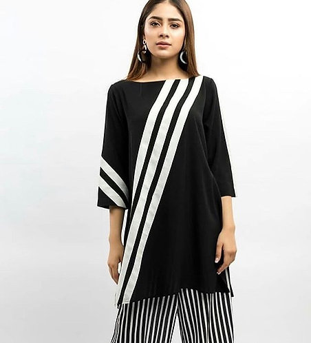 Black Shirt with Striped Pants