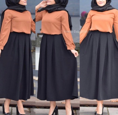 Rust Orange Shirt with Black Skirt