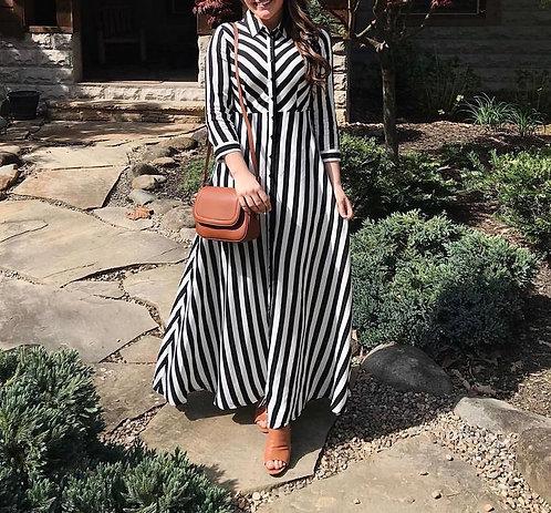 Navy Blue and White Stripes Dress