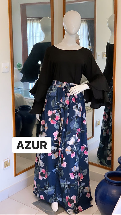 Black shirt with Printed skirt
