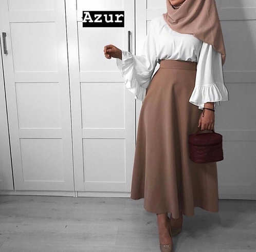 White Shirt with Brown Skirt