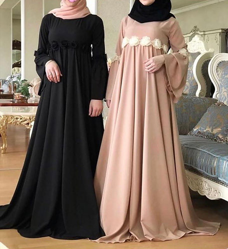 Abaya with floral lace