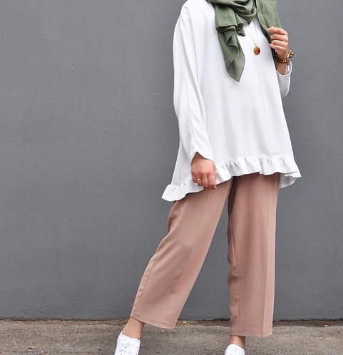 White Shirt with Beige Trousers