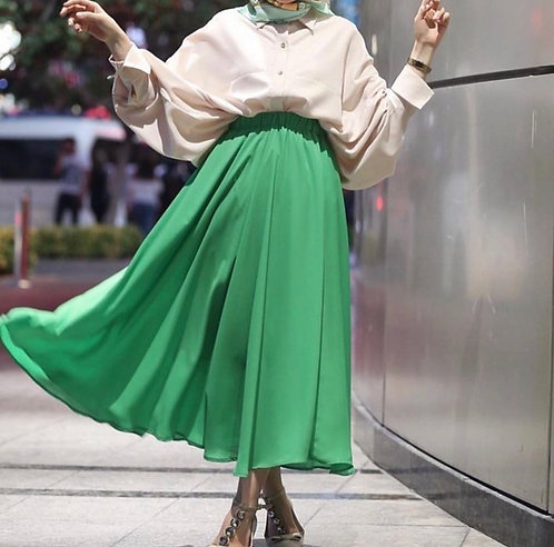 Cream Shirt with Green Skirt