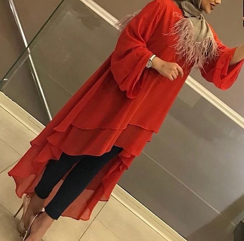 Red Double Layer Frock