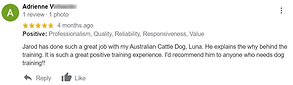 A screenshot of a review of my business posted to Google