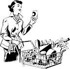 Tranparent Icon of a woman shopping with a shopping cart and canned foods, classic, 50's look, sarcastic 50's woman