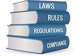 Transparent image of a stack of books, each book labeled as laws, rules, regulations and compliance.