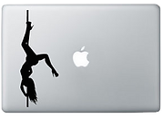 Transparent image of a pole dancer sexy stripper on a mac macintosh laptop