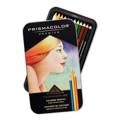 Prisma Premier Coloured Pencils Tin - Set of 12 Colours