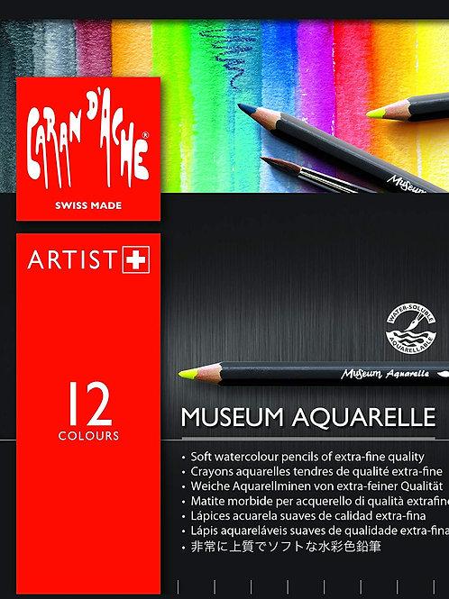 Caran Dache Artist Museum Aquarelle Colour Pencil - 12 Shades