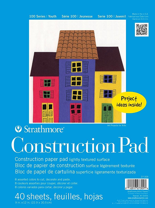 "Strathmore 100 Series Youth Construction Pad 9""x12"" - Assorted Colours 40 papers"
