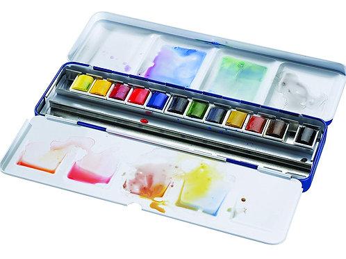 Winsor & Newton Cotman Watercolor Blue Box Set - 12 Half Pans