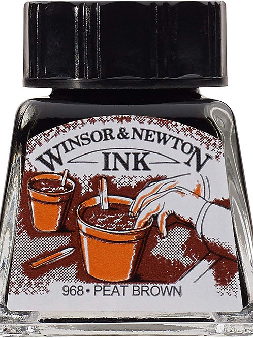 Winsor & Newton Drawing Ink Bottle Peat Brown - 14ml & 30ml