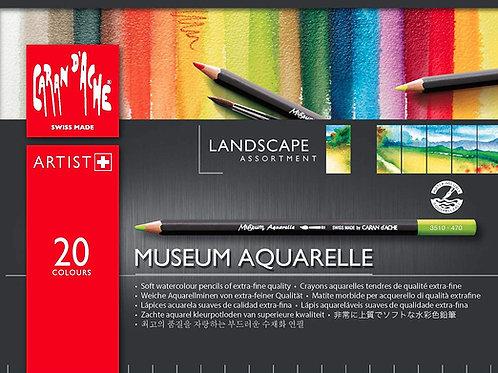 Caran Dache Artist Museum Aquarelle Colour Pencil Landscape - 20 Shades