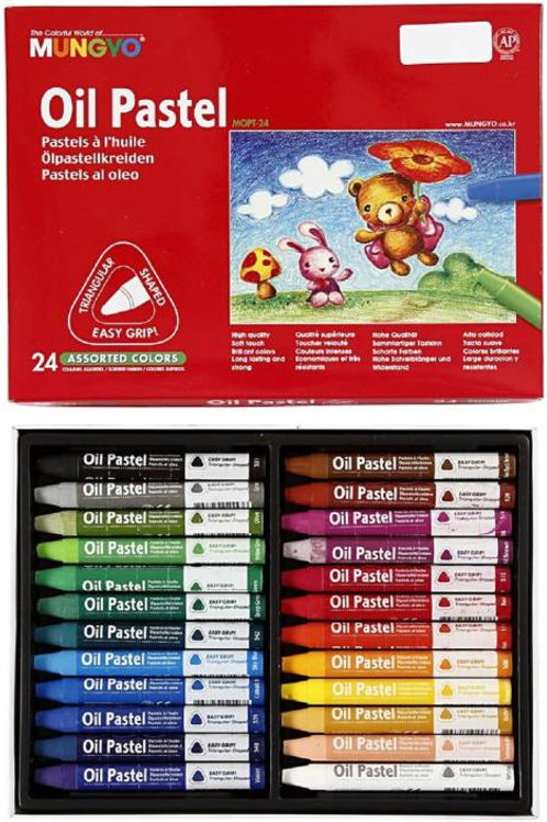 Mungyo Triangular Oil Pastel - 24 Assorted Colours