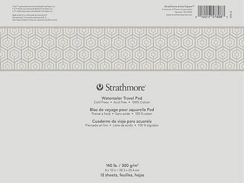 "Strathmore 500 Series Watercolour Travel Pad (white) - 8"" x 10"""