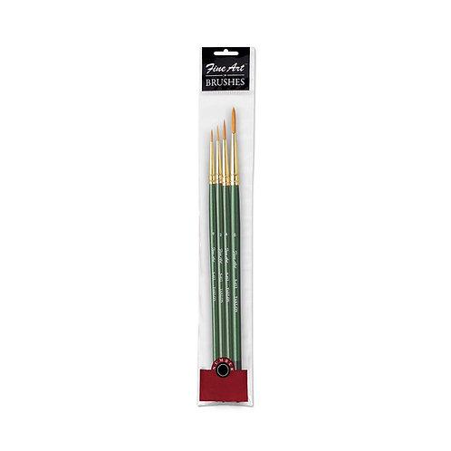 Fine Art Painting Round Shape Brushes -Set of 4