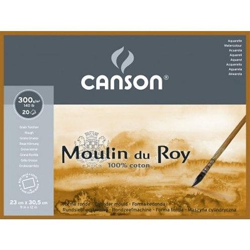 Canson Moulin du Roy 300 GSM 4 Side Glued Pad - 20 Rough Grain.