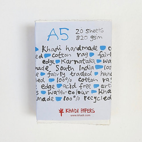 Khadi Paper A52W R 320gsm A5 Rough - Pack of 20