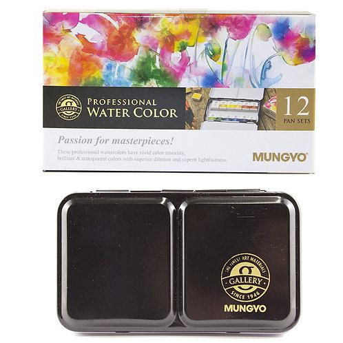 Mungyo Professional Water Colour Half Pan Set 12 Colours