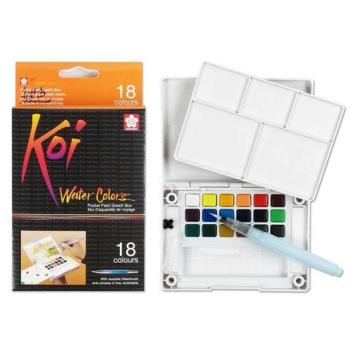 Sakura Koi Watercolour Cakes Set of 18 (Field Kit)