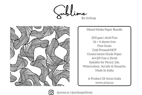 Sublime 200gsm A4 Mixed Media Bundle By Artloop