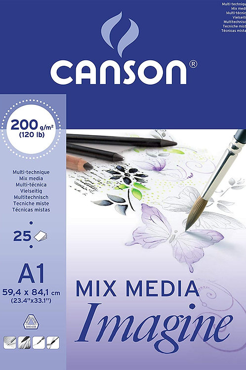 Canson Imagine Mixed Media A1 - 200gsm - 25 sheets pad.