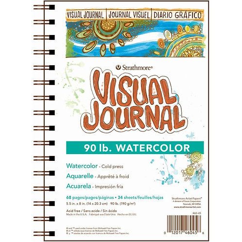 """Strathmore 400 Series Visual Journal Watercolor - 5.5""""X8"""" 190 GSM - 68 Sheets"""