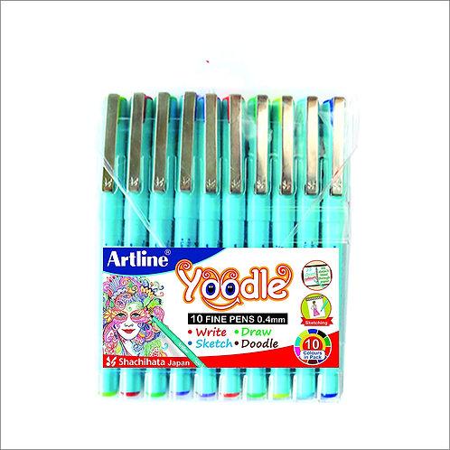 Artline Yoodle 0.4mm Fine Tip Pen - Set of 10