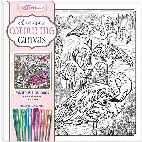 Art Maker Artists' Colouring Canvas: Fabulous Flamingos with Gel Pens