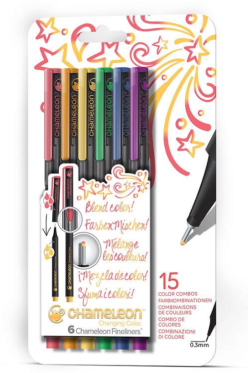 Chameleon Fineliner Pens Colours set of 6 - Primary