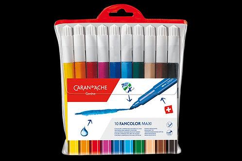 Caran Dache Box of 10 Maxi Fibre-tipped Pens Fancolor