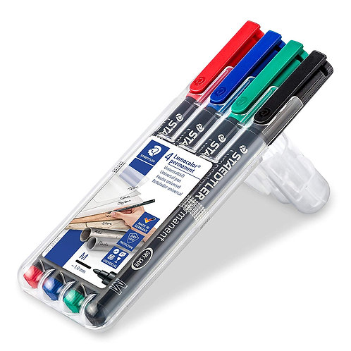 Staedtler Mars Lumocolor Permanent Markers - Medium - 4 Assorted Colours