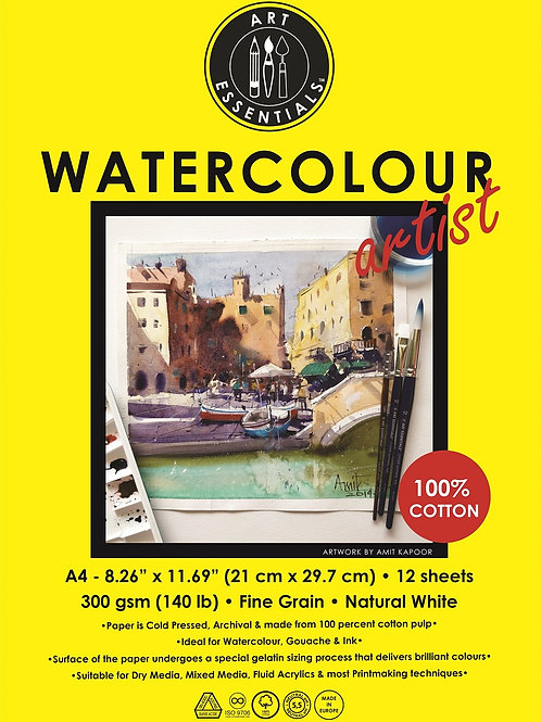 Art Essentials Watercolour Artist Pad - A4