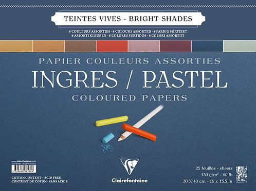 "Clairefontaine Ingres Pastel Colour Pad Assorted - 12"" x 15.5"""