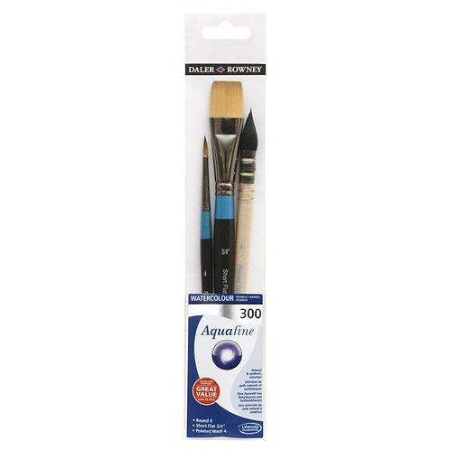 Daler Rowney Aquafine Watercolour Brush Wallet 300 - Set of 3