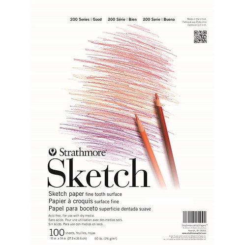 Strathmore 200 Series Sketch 11''x14'' - 74 GSM Paper - Pad of 100 Sheets