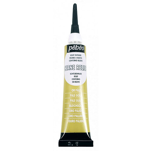 Pebeo Vitrail Cerne Relief Outliner - 20ml Tube - Pale Gold