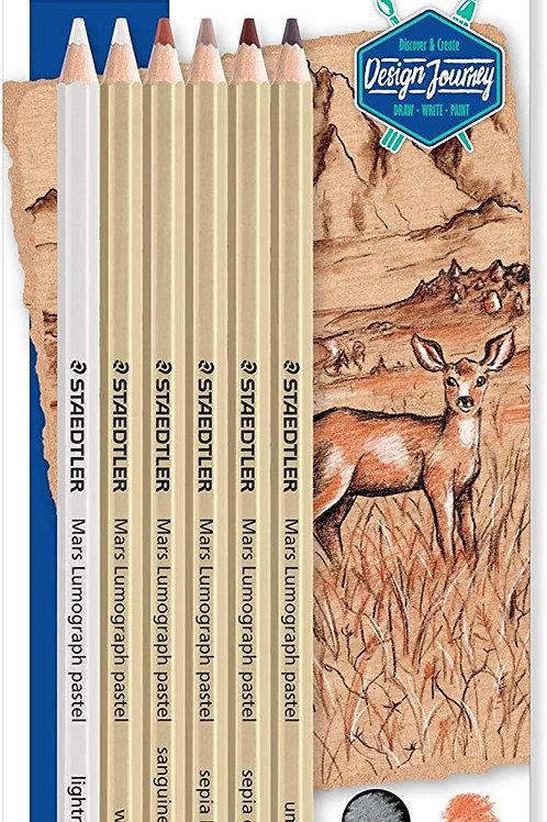 Staedtler Mars Lumograph Pastel - Blister Pack of 6 Assorted Pastel Pencils