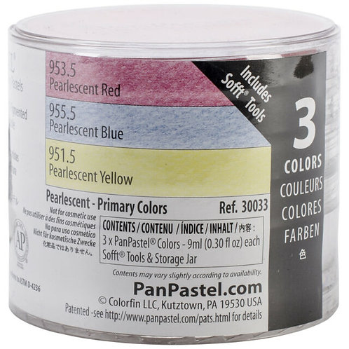 Colorfin Pan Pastel Pearlescent Primary Artist Pastels Set - Set of 3 (30033)