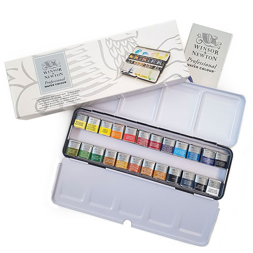 Winsor & Newton 24 Half Pan Lightweight Metal Tin Set