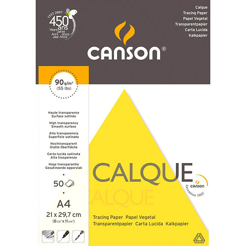 Canson Translucent 90 GSM Satin Tracing Paper - Short Side Glued (Pad of 50 Sh