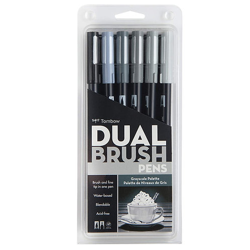 Tombow Dual Brush Pen Grayscale Pack Of 6