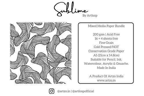 Sublime 200gsm A5 Mixed Media Bundle By Artloop
